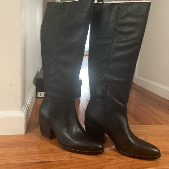 Fae Black Leather Tall Boots By